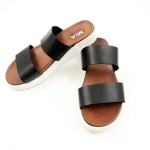 MIA Double Strap Platform Slide Sandals